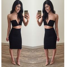 ✨NEW RETAIL MIDI SKIRT✨ SUPER SEXY Black Midi Skirt! This look is so hot right now. It's 24 in. long and there is a 6 1/4 in. slit in back This Midi is available in Small, Medium, and Large! Pair with a cute crop, a bodysuit, throw on a blazer, dress this look up OR down! -- 68% Rayon 27% Nylon 5% Spandex- it's stretchy and THICK! click buy now! ❤️ this listing is for a medium •prices are firm• Skirts Midi