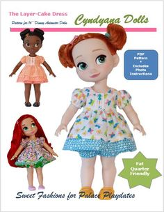 The Layer Cake Dress Doll Clothes PDF Pattern for Disney Animator's Collection Dolls by Cyndyana Dolls