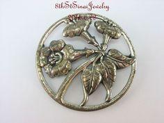 Estate Danecraft Large Round Sterling Silver 925 Trumpet Flower Pin Brooch #Danecraft