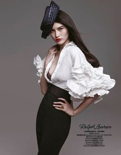 The White Shirt Sui He Models Spring Collections For Harper's Bazaar China March 2013
