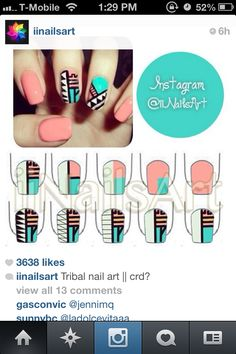 Love this #tribal nail patterns #HowTo
