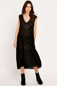 Somedays Lovin' Get No Satisfaction Black Midi Dress