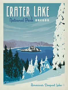Crater Lake National Park - Anderson Design Group has created an award-winning series of classic travel posters that celebrates the history and charm of America's greatest cities and national parks. Founder Joel Anderson directs a team of talented Nashville-based artists to keep the collection growing. This print celebrates the winter beauty of Crater Lake National Park.
