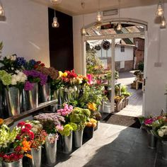 Autumn sunshine through the shop door