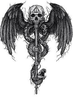 La mort - My list of best tattoo models Tattoo Sketches, Tattoo Drawings, Body Art Tattoos, Sleeve Tattoos, Cool Tattoos, Tatoos, Harry Potter Tattoos, Harry Potter Drawings, Harry Potter Fan Art