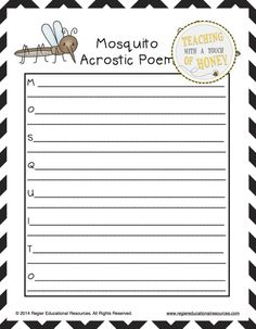 $ Support your students as they write acrostic poems about insects with these tiered templates!