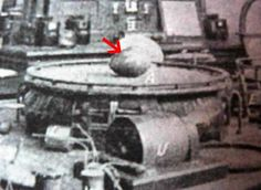 """The USS Eldridge with """"Tesla Egg""""."""