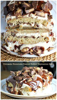 Ultimate Chocolate Peanut Butter Explosion Cake