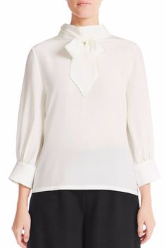 This versatile silk blouse has on-trend pussy-bow ties with a low turtle neck, sleeve, loose buttoned cuffs and centre back concealed zipper. Ivory Silk, Signature Collection, Mulberry Silk, Silk Crepe, Women Wear, Turtle Neck, Elegant, Blouse, Model