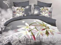 High Quality Fancy Orchid Print 4 Piece Cotton 3D Bedding Sets