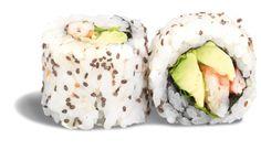 CALIFORNIA AVOCAT CREVETTE - RECETTE BIO ! - rouleau de riz inversé parsemé de graines de chia garni de crevette avocat ; wasabi mayo et coriandre