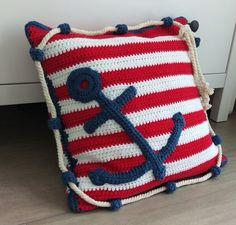 Baby Knitting Patterns Blanket Anchor Pillow Crochet Pattern - Crochet Patterns at Makerist Crochet Cushion Cover, Crochet Pillow Pattern, Crochet Cushions, Crochet Anchor, Nautical Crochet, Baby Knitting Patterns, Crochet Patterns, Crochet Boat, Anchor Pillow