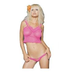 2Pc Mesh Cami Sexy Lingerie Intimate Apparel With Criss Cross Elastic Design And Thong - Sexy Halloween Costumes