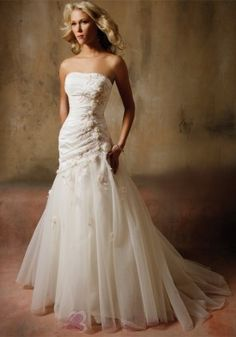 Mermaid Strapless Sweep Train Embroidery and Flowers Tulle Organza Bridal Dress W1413 $280.49