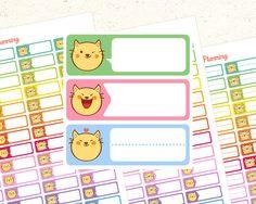 Cute Cat Printable Planner Stickers Headers Planner Sticker Erin Condren Planner Stickers Header Planner Stickers Cat Kawaii Stickers Cat by EnjoyPlanning on Etsy