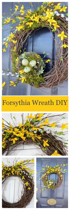 FORSYTHIA WREATH DIY So pretty and easy to make with step by step instructions.