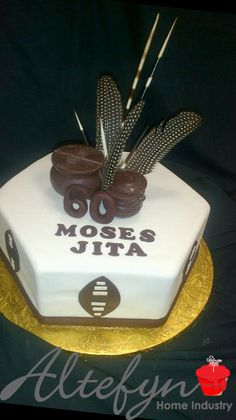 African themed single tier 60th birthday cake