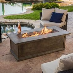 Christopher Knight Home Pablo Brown Rectangular Liquid Propane Fire Table Fire Pit Coffee Table, Gas Fire Table, Propane Fire Pit Table, Diy Fire Pit, Fire Pit Backyard, Outdoor Fire Table, Outdoor Living, Patio Table, Wood Table