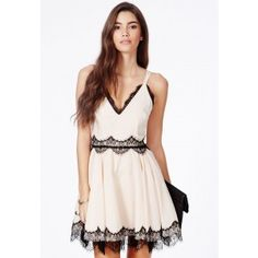 Berneen Nude Puffball Skater Dress With Eyelash Lace - Dresses - Skater Dresses - Missguided