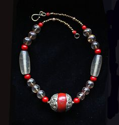 Old Tibetan Coral Bead W/Thick Repousse' Silver by BijouxWalla