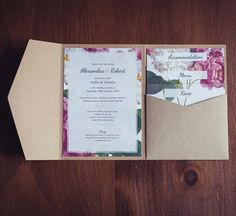 Beautiful botanical styled wedding invitation. Rustic, vintage, on trend floral design in a luxury pocket wallet.