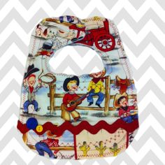 Vintage boy cowboy fabric with navy bandana backing, warm and natural in the center, snap closure, baby boy
