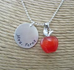 personalized apple teacher necklace by juliethefish on Etsy