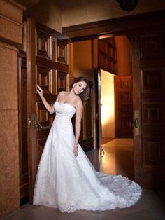 Sweetheart empire waist princess net wedding dress