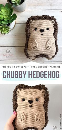Chubby Hedgehog Free Crochet Pattern Cute ragdoll style hedgehog will surely make a great toy as well as a pillow. Chain loop stitch provides an interesting texture and it`s not difficult to crochet. #crochethedgehog
