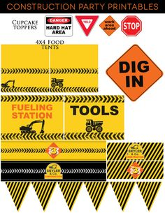 Construction Birthday Party Printables, Dump Truck, Bulldozer, Cement Truck, Digger, Boys Party, DIY party supplies