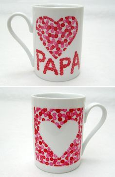 mugs pour papa - Regalos Diy For Kids, Crafts For Kids, Diy Christmas Mugs, Cadeau Parents, Diy Mugs, Navidad Diy, Fathers Day Crafts, Gifts For Dad, Crafts To Make