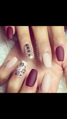 Matte maroon and nude nails