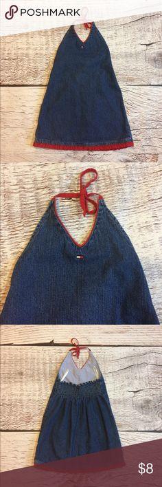 Tommy Hilfiger Jean Halter Dress Tommy Hilfiger Jean Halter Dress w/ Red Trim. VGUC. Super cute on!! Size 3t. Tommy Hilfiger Dresses Casual