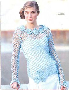 openwork crochet sweater patron1 network