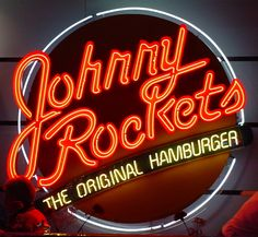 Johnny Rockets - You get a free hamburger just for signing up. You also get a free hamburger on your birthday. They will send you special offers and promotions. Restaurant Guide, Logo Restaurant, Food Places, Places To Eat, Sign O' The Times, Neon Moon, Vintage Neon Signs, Neon Lighting, Never Grow Up