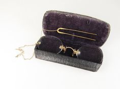 Antique Pince Nez Glasses with Hair Pin and Chain by FairSails