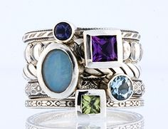 Customize It Rings by Olive Bungalow - Stackable Gemstone/Birthstone Ring- Really want to build one with the girls' birthstones!