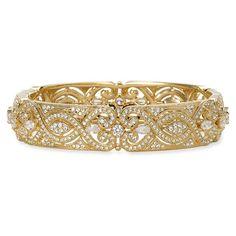 Nadri Crystal Scroll Bangle ($168) ❤ liked on Polyvore