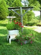 Flowers in wash tub and old wringer washer beautifies the clothes line at Homestead Blessings Pots, Outdoor Spaces, Outdoor Decor, Farm Life, Farm House, Garden Gates, Outdoor Projects, Yard Art, The Fresh