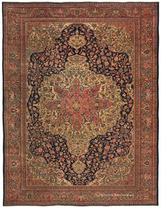 FERAHAN SAROUK - West Central Persian 8ft 8in x 11ft 1in 3rd Quarter, 19th Century  This piece is a standout from a favorite style among our clients who appreciate living with sophisticated artistry and superb craftsmanship. This evocative carpet's every blossom has an enrapturing individuality illumined by the great depth and richness of its shimmering palette. Known for their magnificent centerpieces, this Ferahan Sarouk reveals an innovative coral lobed blossom alighting on the wheat hued…