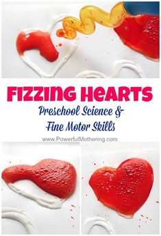 Explore science and fine motor skills with these fizzing hearts! A great experiment for preschool. #finemotor #preschool #toddler #hearts #science