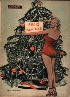 Marilyn Christmas Photo Back Cover Magazine in Spanish 1957