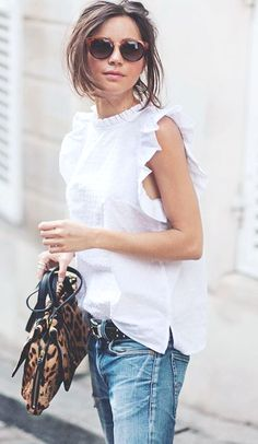 Outfit - Witte top - Jeans - look - fashion&style - Summer Fashion Trends, Spring Summer Fashion, Fashion Ideas, Spring Break, Looks Style, Style Me, Mode Outfits, Fashion Outfits, Fashion 2018