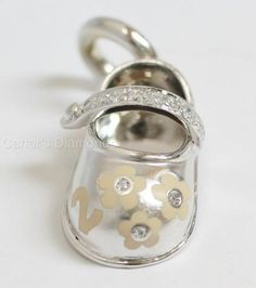 Aaron Basha Diamond Shoe Charm Pendant 18K White Gold Flowers - http://designerjewelrygalleria.com/aaron-basha/aaron-basha-diamond-shoe-charm-pendant-18k-white-gold-flowers/
