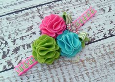 Pink Christmas Headband -Pink Green Blue Wool Felt Headband - Pink Chevron Headband - Baby Christmas Headband- Girls Christmas Headband on Etsy, $18.50