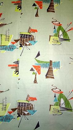 HUGE Pair Vtg Mid Century Prof. Tailored & Lined Atomic Barkcloth Curtains Eames