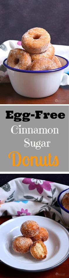 Egg-free Recipe of Cinnamon Sugar Donuts! Perfect recipe for little one's. #easyrecipe #recipes #eggless #homemade #yum