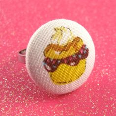 Cupcake Ring  Cupcake Fabric Covered Button  by MelissaAbram, $6.00