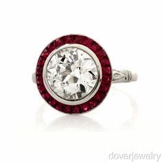 Estate 4.69ct European Diamond French Cut Ruby Platinum Engagement Ring NR