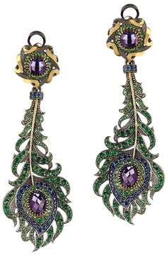 A Pair of Tsavorite, Sapphire and Amethyst Ear Pendants. Each suspending an articulated feather drop, accented by circular-cut sapphires, tsavorite and vari-cut amethyst, from a similarly designed surmount, mounted in 14K yellow gold, length 3 1/4 inches.Signed 'AF' for Axenoff Jewelry, with Russian assay marks, with an original box. Via Phillips.